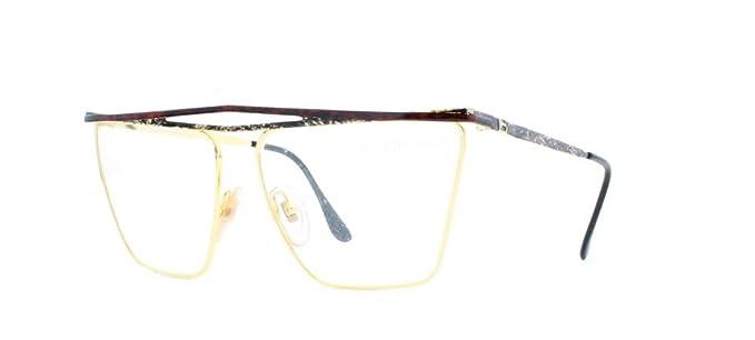 1e76575896f6 Laura Biagiotti V82 146 Gold Certified Vintage Rectangular Eyeglasses Frame  For Womens