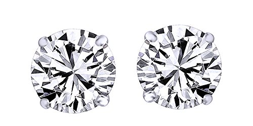 White Natural Diamond Stud Earrings In 14K White Gold Over Sterling Silver (0.2 (0.2 Ct Diamond Earrings)