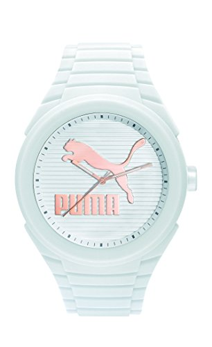 PUMA 'PU10359 Gummy Cat' Quartz Plastic and Silicone Casual Watch, Color:White (Model: PU103592017)
