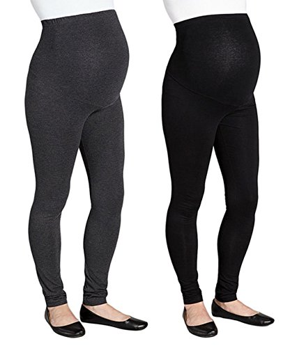 RUMOR HAS IT Maternity Over The Belly Super Soft Support Leggings (Large, Black-Charcoal (2 Pack))
