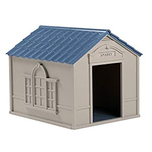 Suncast Outdoor Dog House with Door - Water Resistant and Attractive for Small to Large Sized Dogs - Easy to Assemble - Perfect for Backyards 33
