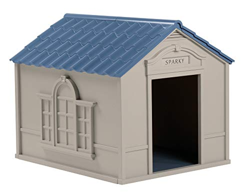 Suncast Outdoor Dog House with Door - Water Resistant Dog House for Small to Large Sized Dogs - Easy to Assemble - Perfect for Backyards