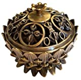 CircuitOffice Lotus Incense Burner, Antique Bronze Design, Great For Cones Or Granular Incense