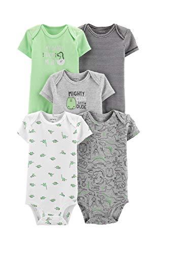 Carter's Baby Boys 5 Pack Bodysuit Set, Dinosaurs, 3 Months