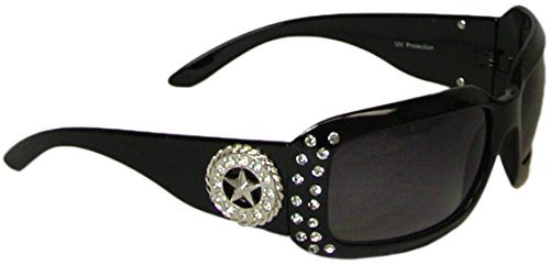Western Sunglasses (Bling Wrap Style Sunglasses Lone Star Concho Rhinestones Polycarbonate UV400 Black)