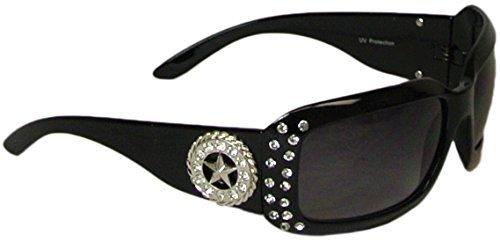 [Bling Wrap Style Sunglasses Lone Star Concho Rhinestones Polycarbonate UV400 Black] (Western Rhinestone Star Concho)