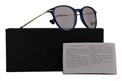 Persol PO3147V Eyeglasses 48-19-140 Striped Blue w/Demo Clear Lens 1053 PO3147-V PO 3147-V PO - Persol Handmade Sunglasses