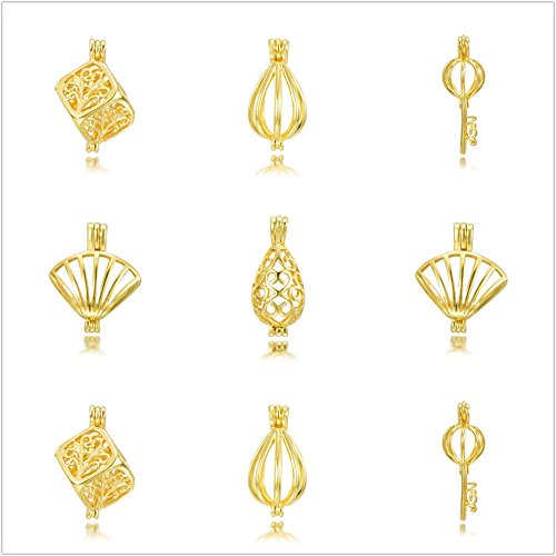 Gold Tone Pearl Charm - 10pcs Cage Box Gold Tone Mix Style Bracelet Necklace Jewelry Making Trendy Pearl Cage Locket Pendant Essential Oil Diffuser Women Gifts