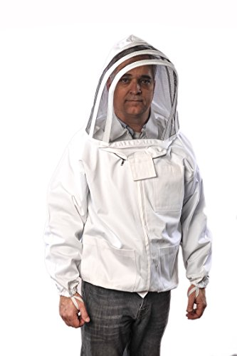 Forest Beekeeping Jacket with Fencing Veil Hood, Professional Premium Beekeeper