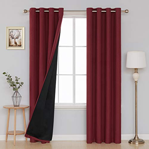 - Deconovo Bedroom Curtains Blackout Textured Window Curtains Solid Sun Blocking Window Curtain Panels for Kids Room 52x84 Inch Dark Red, Set of 2