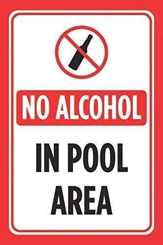 Cartel de Metal con Texto en inglés No Alcohol in Pool Area ...