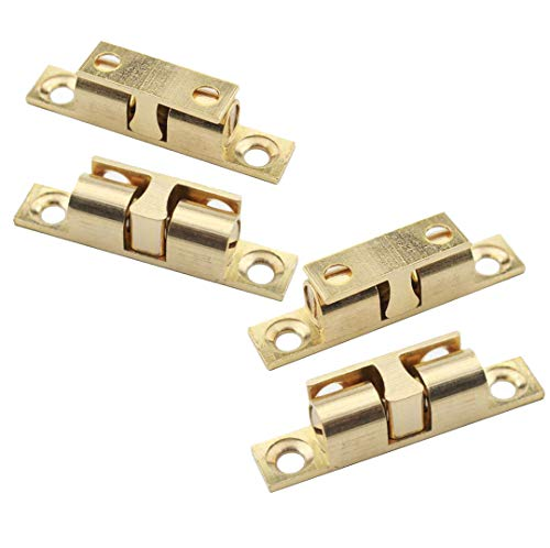 AKOAK 1.65 Inches Solid Brass Cabinet Door Closet Double Ball Tension Catch Latch,Pack of 4