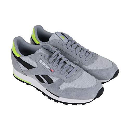 (Reebok Men's Classic Leather Sneaker Cold Grey/Cool Shadow/White/Black/neon Lime 8.5 M US)
