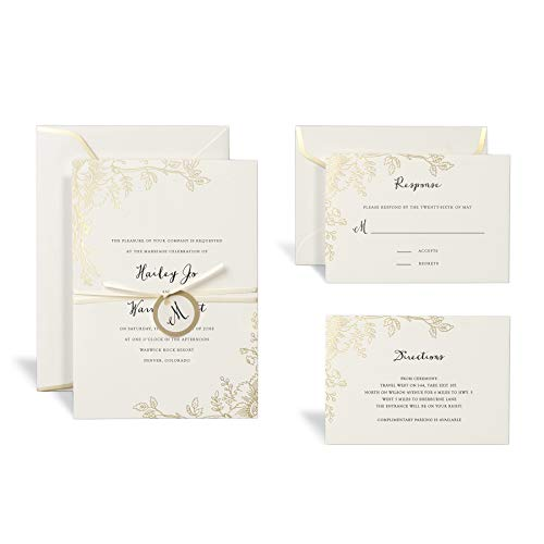 Gold Floral Wedding Invitation Kit by Celebrate It, 30ct.