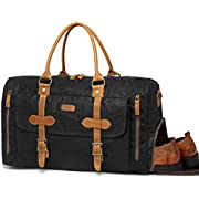 Canvas Duffel Bag,Vaschy Water-Resistant Waxed Canvas Duffle Large Leather Overnight Travel Bag with Shoe Compartment…