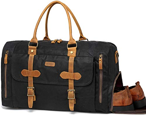 Canvas Duffel Bag,Vaschy Water-Resistant Waxed Canvas Duffle Large Leather Overnight Travel Bag with Shoe Compartment 46L Carry-on Holdall Baggage Weekend Bag