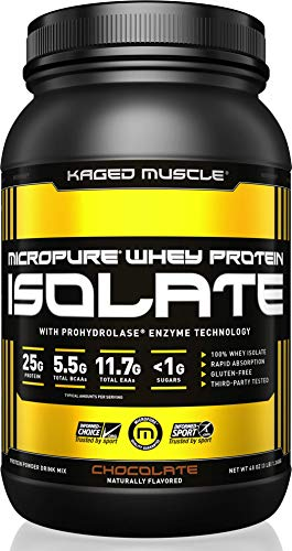 KAGED MUSCLE - MicroPure Whey Protein Isolate, Whey, Chocolate, Whey Protein Powder, Boost Reocovery, Post Workout, Whey Protein Isolate, Chocolate, 3lbs