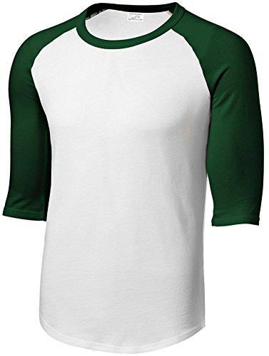 Mens or Youth 3/4 Sleeve 100% Cotton Baseball Tee Shirts Whi