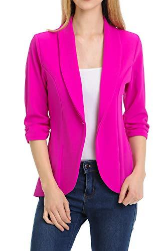 (MINEFREE Women's 3/4 Ruched Sleeve Lightweight Work Office Blazer Jacket Berry 2XL)