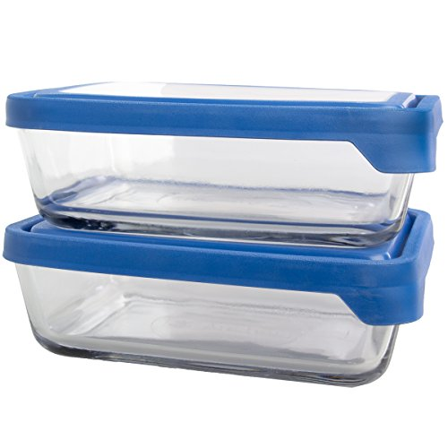 Anchor Hocking (4 Piece) Trueseal Glass Storage Containers With Lids Set 4 Cup Rectangle Nesting Bowls