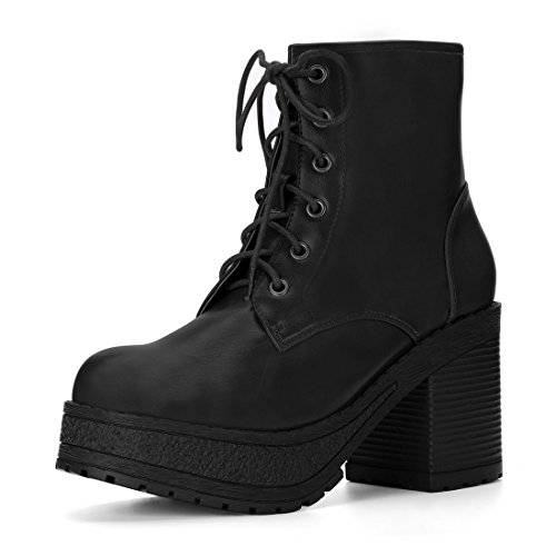Allegra Boot (Allegra K Women's Chunky Heel Platform Lace Up Combat Boots (Size US 6) Black)