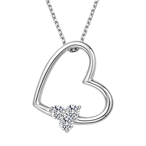 Gnzoe Jewelry 18K White Gold 0.14ct White Diamond Pendant Necklace Heart Shape White by Gnzoe
