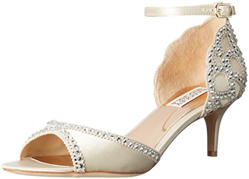 Badgley Mischka Women's Gillian Dress Sandal, Ivory, 8.5 M US Womens Evening Shoes Ankle Strap