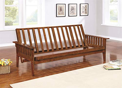 Futon Frame with Slat Side Detail Dirty Oak
