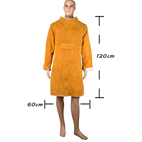 LAIABOR Leather Welding Apron, Flame Resistant Welder Clothes Coat with Sleeves, wear-Resistant Anti-Scald Heavy Duty Apron Anti-Flame Long Protective Clothing Durable,Brass by LAIABOR (Image #6)
