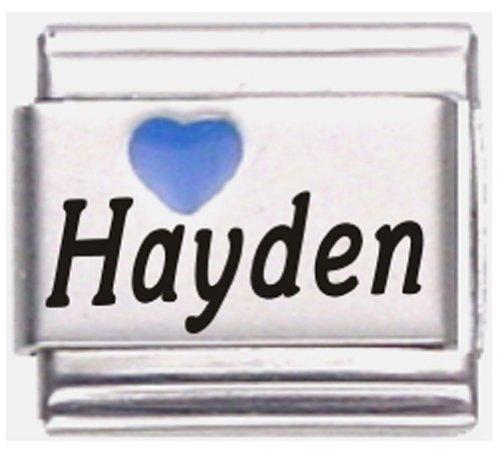 Hayden Dark Blue Heart Laser Name Italian Charm Link