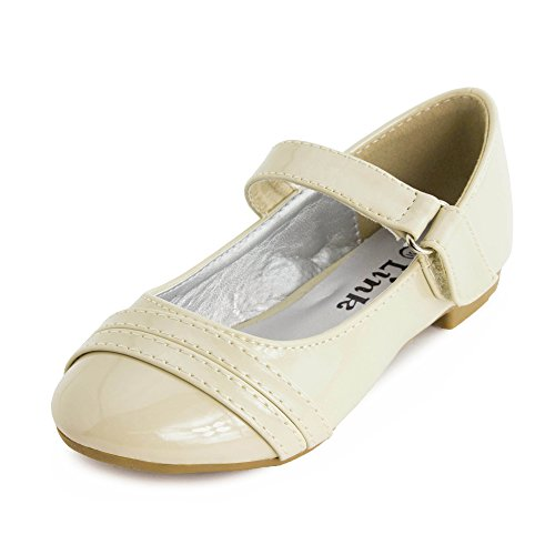 Girls Low Heel Ankle Hook Flat Shoes Beige 5 M US Toddler