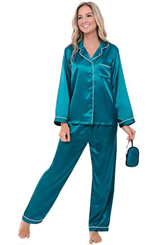 Alexander Del Rossa Womens Satin Pajamas, Long Button-Down Pj Set and Mask, XS Ocean Depth with Light Grey Piping (A0750OLGXS) -