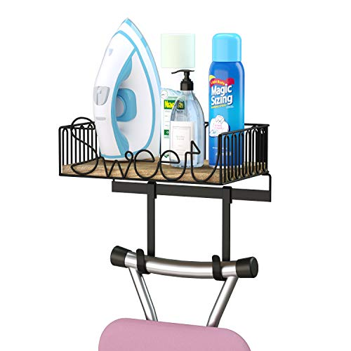 (SRIWATANA Ironing Board Hanger Wall Mount, Iron & Ironing Board Holder with Wood Base for Iron Accessories Storage)