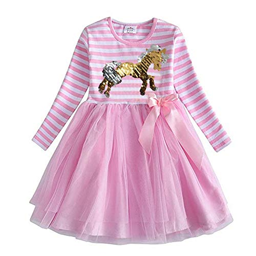 VIKITA 2018 Toddler Girls Silver & Gold flip Sequin Horse Pony Dress Long Sleeve Girl Dresses for Kids 3-8 Years LH4574PINK, 4T