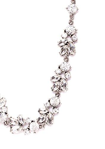 Happiness Boutique Femmes Collier Plastron en Argent avec un Design Floral | Collier de Mariage Inspiration Vintage en Couleur Neutre sans nickel