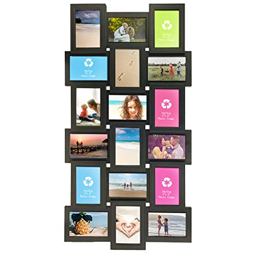 Artsay 4x6 Multi Picture Frames Collage 18 Openings Multiple Photo Frame for Wall Hanging, Black, Glass Front (4 X 6 Picture Frame Collage)