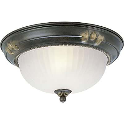 Progress Lighting P3724-77 Close-To-Ceiling Fixture with Etched Ribbed Glass, Forged Bronze