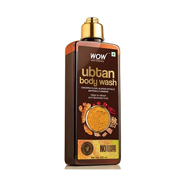 WOW Skin Science Ubtan Body Wash with Chickpea Flour, Almond Extract, Saffron & Turmeric Extracts - No Sulphate… 2021 July A clarifying body wash that contains almond, turmeric and saffron extracts, sandalwood oil, rose water and chickpea flour. It helps to draw out impurities and give your skin a smooth texture The active ingredients in the body wash is inspired from the traditional ubtan recipe to give you skin that glows with health The body wash has vitamins and minerals that help to manage your skin health, and prevents pollutants and free radicals from harming your skin