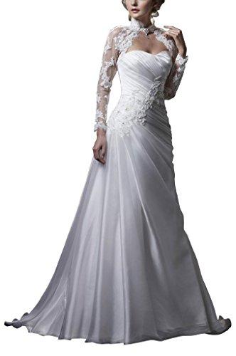 BRIDE Bianco con da Organza pizzo elegante GEORGE sposa ed abiti in giacca Bella 4wTqXxdx7