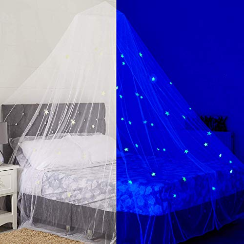 Glow in The Dark Kids Bed Canopy Fairy Light Stars Play Tent Large Mosquito Net (Netting Indoor Light Fairy)