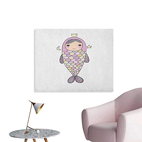 Anzhutwelve Mermaid Art Decor Decals Stickers Fantasy Sea Life Mythological Character Girl in Fish Costume with Crown Moon Stars Art Poster Multicolor W36 xL24 -