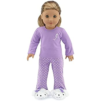 b827f15047 Amazon.com  Doll Clothes (2 Piece Sleepwear Pajamas With Shoes Fits ...