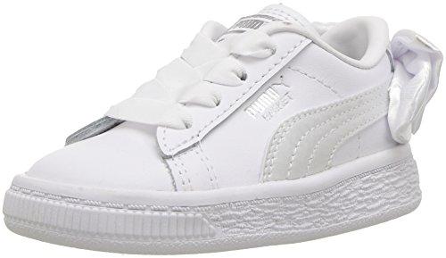PUMA Baby Basket Bow Slip On Sneaker, White, 7 M US ()