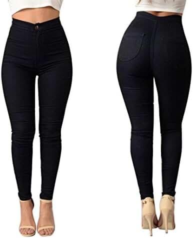 Perman Women Denim Jeans Girls Skinny Stretch Pencil Pants Tights Leggings