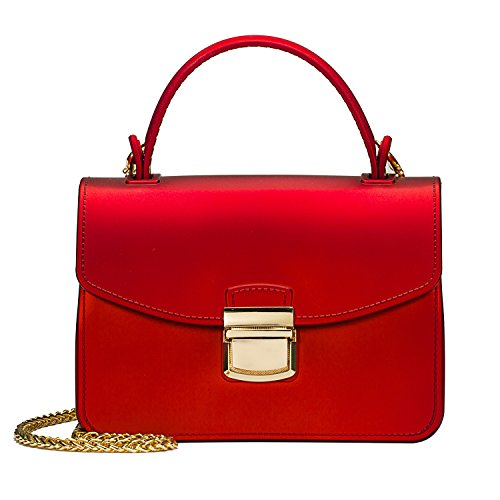 Small Top Handle Handbags Jelly Satchel Bags for Women Tote Purse - Red