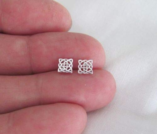 Sterling Silver 5mm Dainty Square Celtic Knot Post Stud Tiny Earrings. - Jewelry Accessories Key Chain Bracelet Necklace Pendants