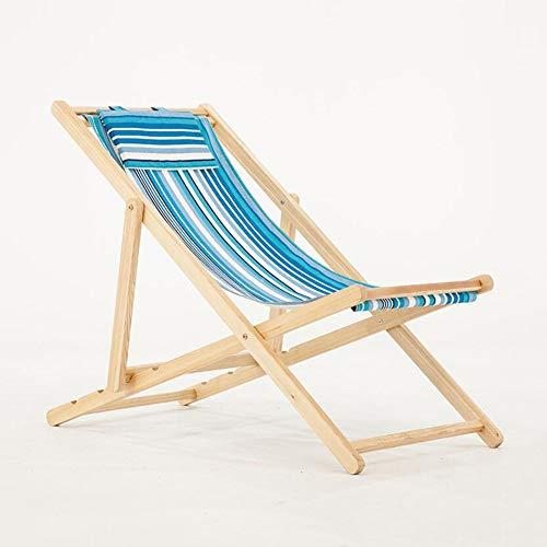 CJC Sun Lounger Hardwood Frame Folding Classic Deck Chair Armrests Non-Slip Adjustable Reclining (Color : Blue)