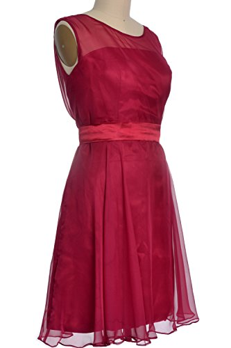 MACloth Women Boat Neck Chiffon Short Bridesmaid Pary Dress Cocktail Formal Gown Verde Oscuro