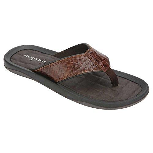 Kenneth Cole New York Men's Leather Flip Flop, Brown/Black, 11 M ()