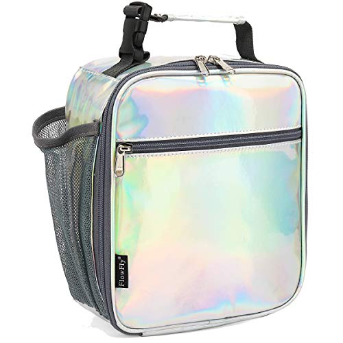Kids Lunch box Insulated Soft Bag Mini Cooler Back to School Thermal Meal Tote Kit for Girls, Boys by FlowFly,Holographic